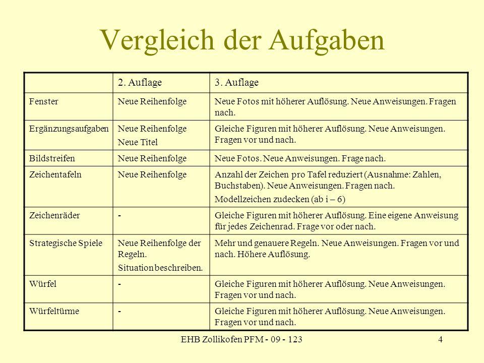 EHB Zollikofen PFM - 09 - 1234 Vergleich der Aufgaben 2. Auflage3. Auflage FensterNeue ReihenfolgeNeue Fotos mit höherer Auflösung. Neue Anweisungen.