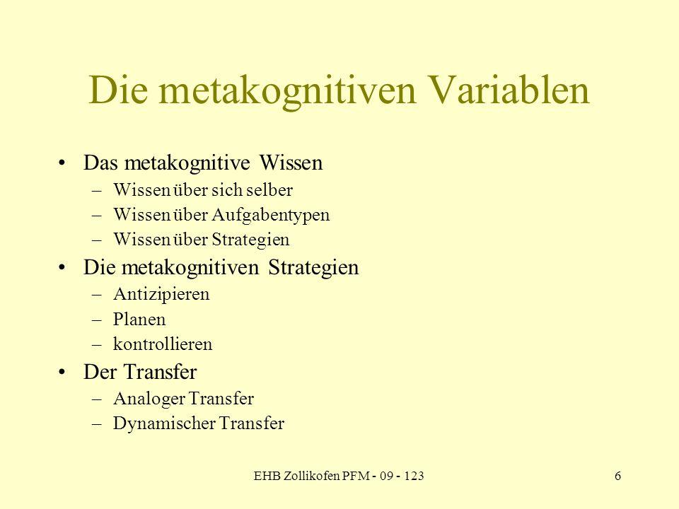 EHB Zollikofen PFM - 09 - 1236 Die metakognitiven Variablen Das metakognitive Wissen –Wissen über sich selber –Wissen über Aufgabentypen –Wissen über