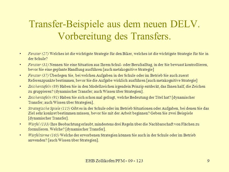 EHB Zollikofen PFM - 09 - 1239 Transfer-Beispiele aus dem neuen DELV. Vorbereitung des Transfers. Fenster (27) Welches ist die wichtigste Strategie fü