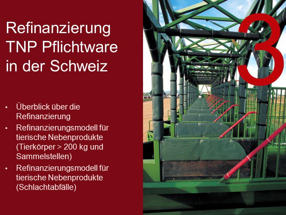 Refinanzierung TNP Pflichtware in der Schweiz Überblick über die Refinanzierung Refinanzierungsmodell für tierische Nebenprodukte (Tierkörper > 200 kg