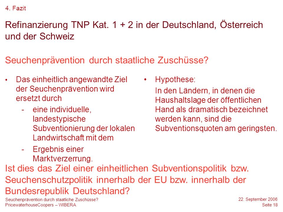 PricewaterhouseCoopers – WIBERA 22. September 2006 Seite 18 Seuchenprävention durch staatliche Zuschüsse? Refinanzierung TNP Kat. 1 + 2 in der Deutsch