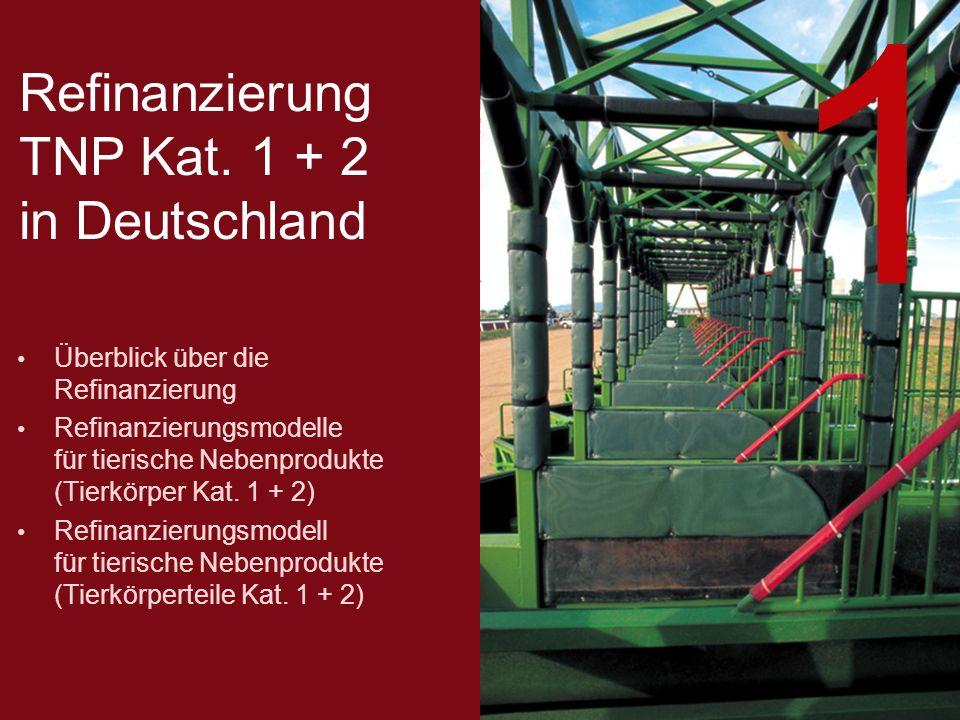 Refinanzierung TNP Kat. 1 + 2 in Deutschland Überblick über die Refinanzierung Refinanzierungsmodelle für tierische Nebenprodukte (Tierkörper Kat. 1 +