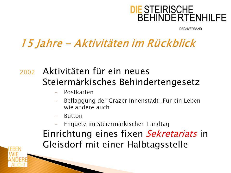 2002 Aktivitäten für ein neues Steiermärkisches Behindertengesetz -Postkarten -Beflaggung der Grazer Innenstadt Für ein Leben wie andere auch -Button -Enquete im Steiermärkischen Landtag Einrichtung eines fixen Sekretariats in Gleisdorf mit einer Halbtagsstelle