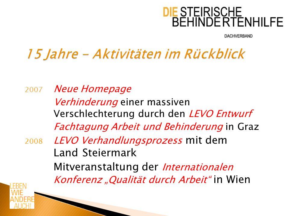 2007 Neue Homepage Verhinderung einer massiven Verschlechterung durch den LEVO Entwurf Fachtagung Arbeit und Behinderung in Graz 2008 LEVO Verhandlungsprozess mit dem Land Steiermark Mitveranstaltung der Internationalen Konferenz Qualität durch Arbeit in Wien