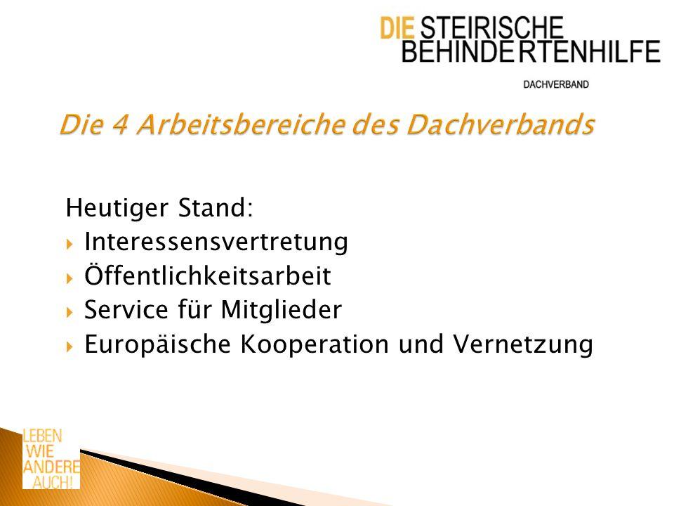 Heutiger Stand: Interessensvertretung Öffentlichkeitsarbeit Service für Mitglieder Europäische Kooperation und Vernetzung