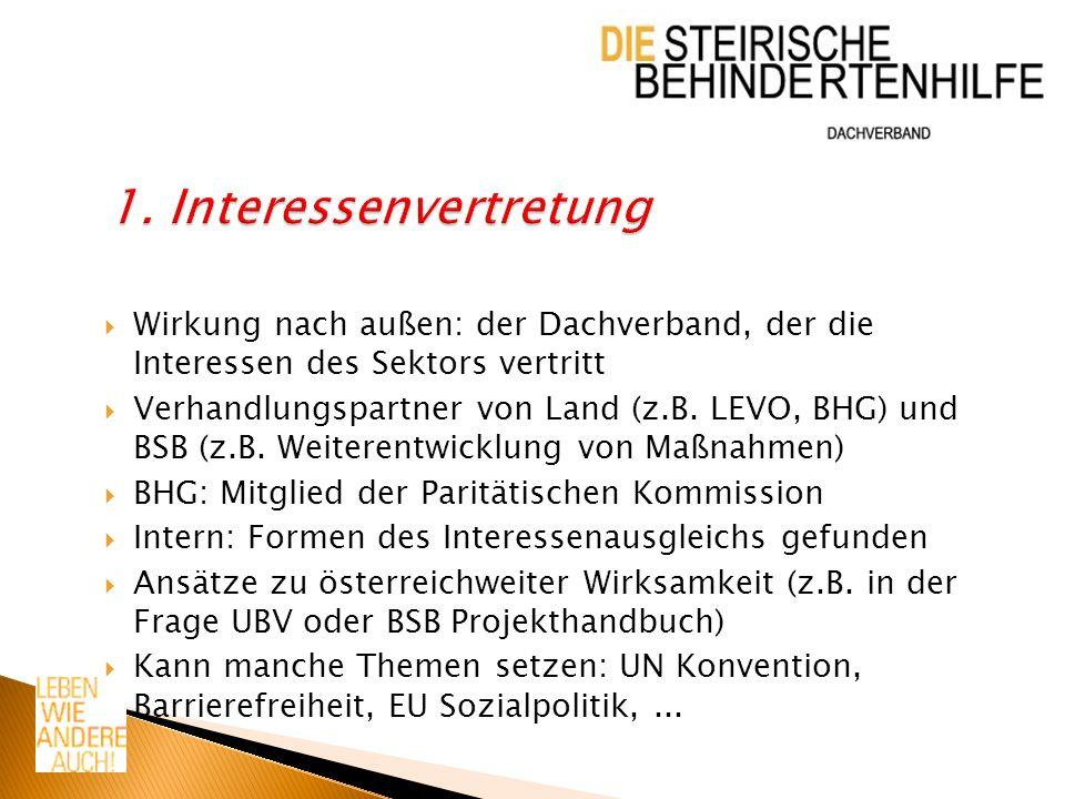 Wirkung nach außen: der Dachverband, der die Interessen des Sektors vertritt Verhandlungspartner von Land (z.B. LEVO, BHG) und BSB (z.B. Weiterentwick