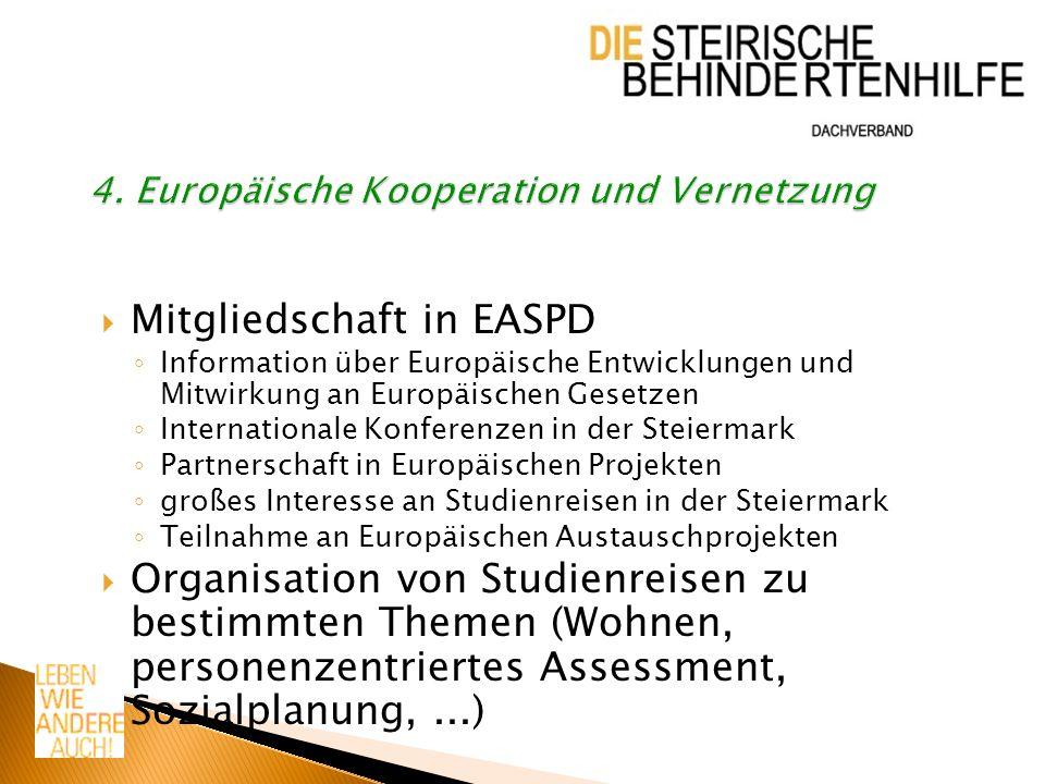 Mitgliedschaft in EASPD Information über Europäische Entwicklungen und Mitwirkung an Europäischen Gesetzen Internationale Konferenzen in der Steiermar