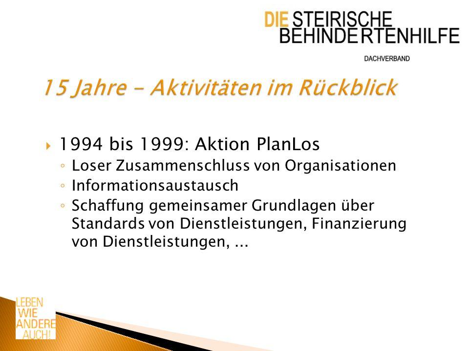 1994 bis 1999: Aktion PlanLos Loser Zusammenschluss von Organisationen Informationsaustausch Schaffung gemeinsamer Grundlagen über Standards von Dienstleistungen, Finanzierung von Dienstleistungen,...