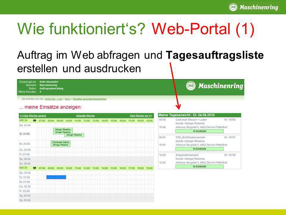 Wie funktionierts? Web-Portal (1) Auftrag im Web abfragen und Tagesauftragsliste erstellen und ausdrucken