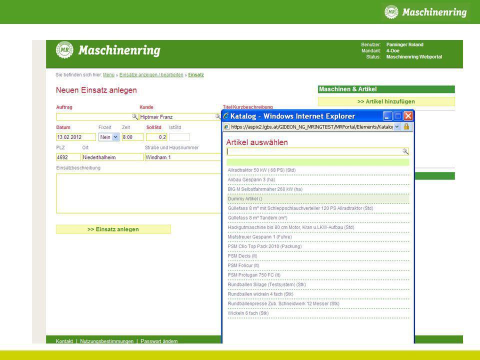 Agrar Eigenvermittlung Beispiel: Rundballen pressen Maschinenring Dienstleister Kunde Erstellung eines Dauer/Saisonauftrags im P2plus Beauftragung direkt durch den Kunden (persönlich/telefonisch) Dispo über WEB oder PDA durch Landwirt.