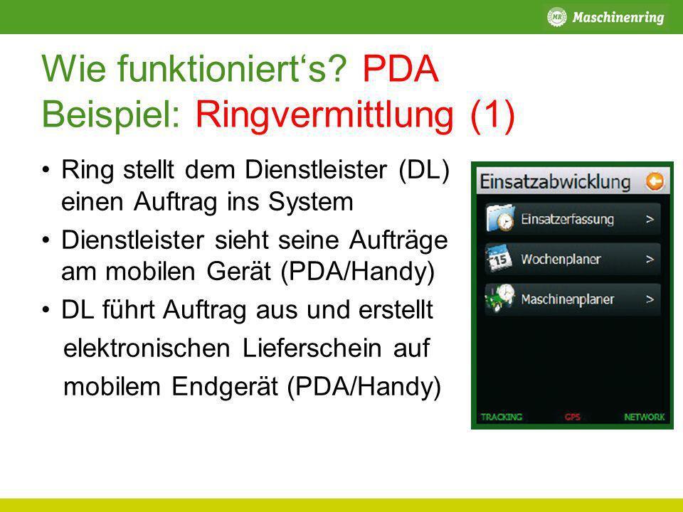 Wie funktionierts? PDA Beispiel: Ringvermittlung (1) Ring stellt dem Dienstleister (DL) einen Auftrag ins System Dienstleister sieht seine Aufträge am
