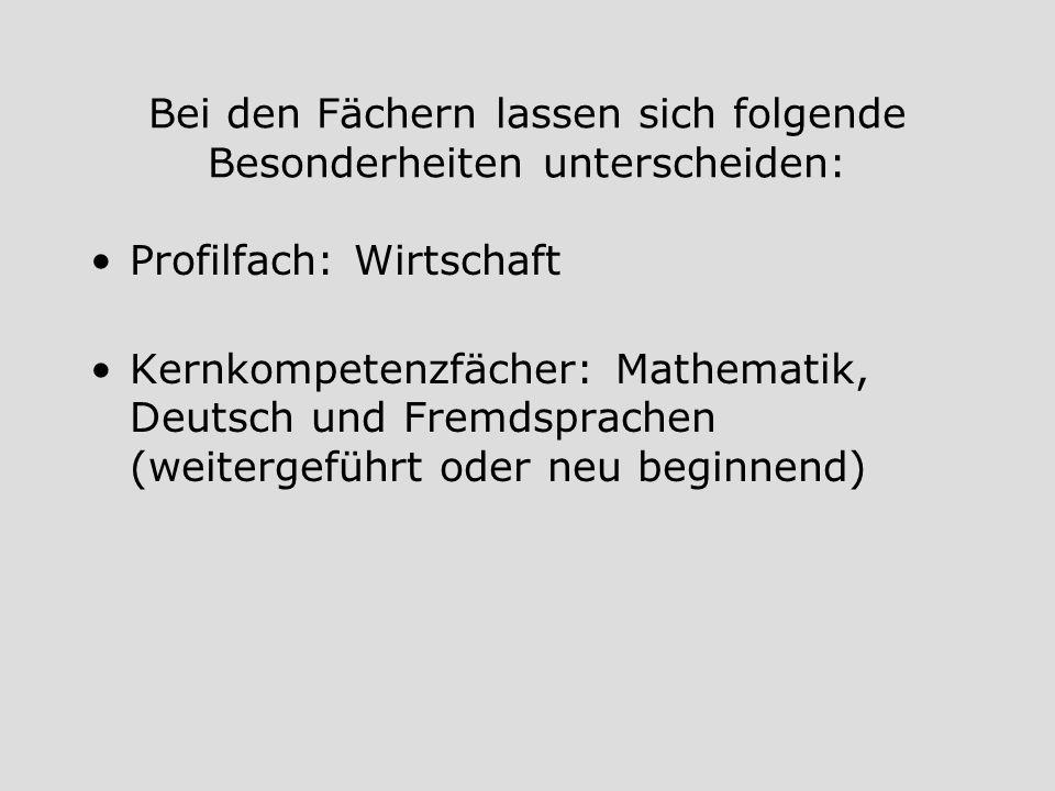 Bei den Fächern lassen sich folgende Besonderheiten unterscheiden: Profilfach: Wirtschaft Kernkompetenzfächer: Mathematik, Deutsch und Fremdsprachen (