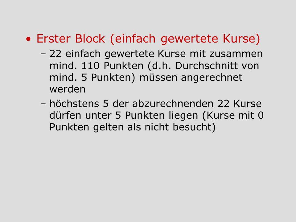 Erster Block (einfach gewertete Kurse) –22 einfach gewertete Kurse mit zusammen mind. 110 Punkten (d.h. Durchschnitt von mind. 5 Punkten) müssen anger