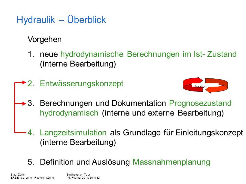 Barthauer on Tour 16. Februar 2014, Seite 12 Stadt Zürich ERZ Entsorgung + Recycling Zürich Hydraulik – Überblick Vorgehen 1.neue hydrodynamische Bere