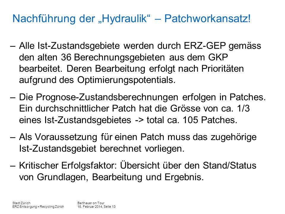 Barthauer on Tour 16. Februar 2014, Seite 13 Stadt Zürich ERZ Entsorgung + Recycling Zürich Nachführung der Hydraulik – Patchworkansatz! –Alle Ist-Zus