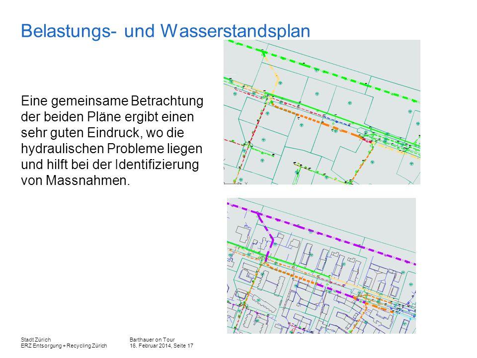 Barthauer on Tour 16. Februar 2014, Seite 17 Stadt Zürich ERZ Entsorgung + Recycling Zürich Belastungs- und Wasserstandsplan Eine gemeinsame Betrachtu