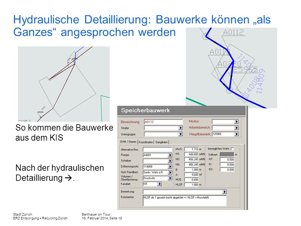 Barthauer on Tour 16. Februar 2014, Seite 18 Stadt Zürich ERZ Entsorgung + Recycling Zürich Hydraulische Detaillierung: Bauwerke können als Ganzes ang
