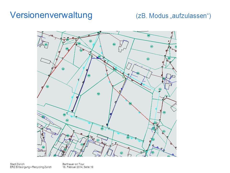 Barthauer on Tour 16. Februar 2014, Seite 19 Stadt Zürich ERZ Entsorgung + Recycling Zürich Versionenverwaltung (zB. Modus aufzulassen)