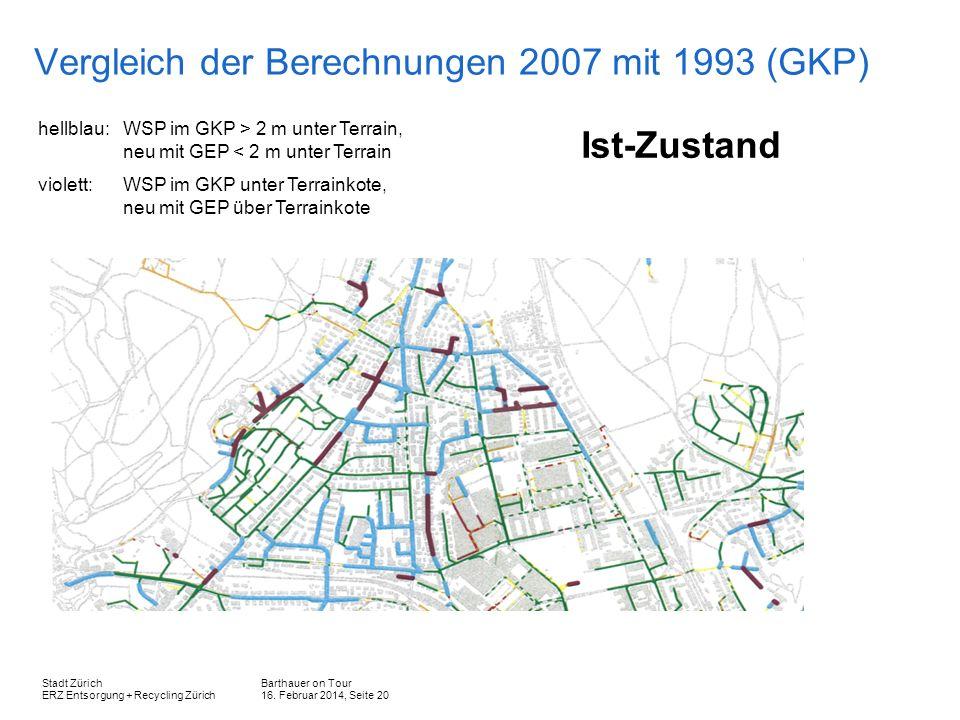 Barthauer on Tour 16. Februar 2014, Seite 20 Stadt Zürich ERZ Entsorgung + Recycling Zürich Vergleich der Berechnungen 2007 mit 1993 (GKP) hellblau: W
