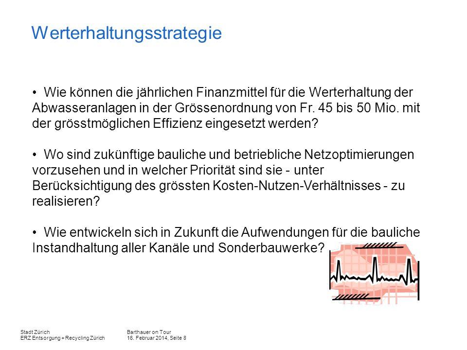 Barthauer on Tour 16. Februar 2014, Seite 8 Stadt Zürich ERZ Entsorgung + Recycling Zürich Werterhaltungsstrategie Wie können die jährlichen Finanzmit
