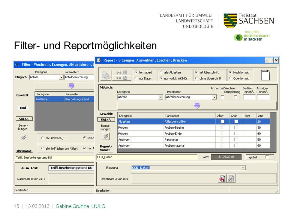 | 13.03.2013 | Sabine Gruhne, LfULG15 Filter- und Reportmöglichkeiten
