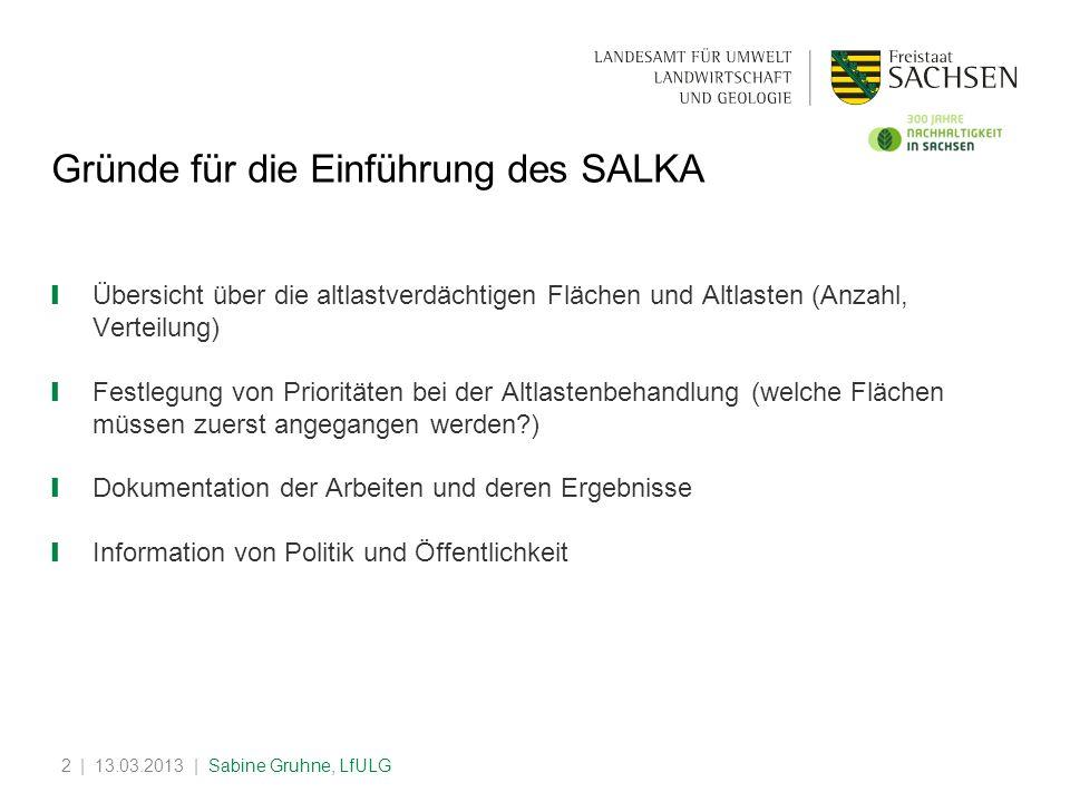 | 13.03.2013 | Sabine Gruhne, LfULG2 Gründe für die Einführung des SALKA Übersicht über die altlastverdächtigen Flächen und Altlasten (Anzahl, Verteil