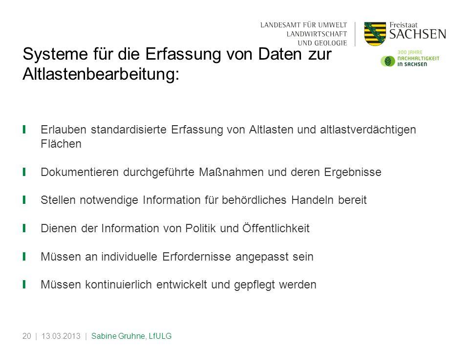 | 13.03.2013 | Sabine Gruhne, LfULG20 Systeme für die Erfassung von Daten zur Altlastenbearbeitung: Erlauben standardisierte Erfassung von Altlasten u