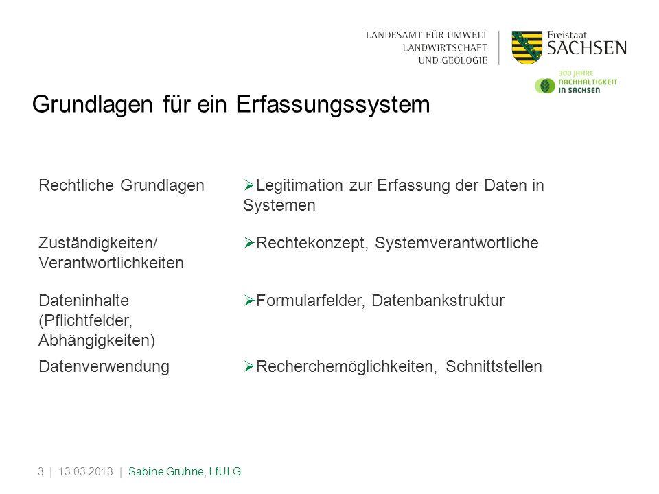 | 13.03.2013 | Sabine Gruhne, LfULG3 Grundlagen für ein Erfassungssystem Rechtliche Grundlagen Legitimation zur Erfassung der Daten in Systemen Zustän