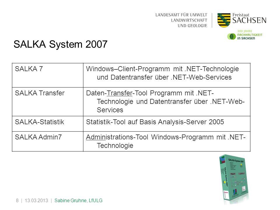 | 13.03.2013 | Sabine Gruhne, LfULG8 SALKA System 2007 SALKA 7Windows–Client-Programm mit.NET-Technologie und Datentransfer über.NET-Web-Services SALK