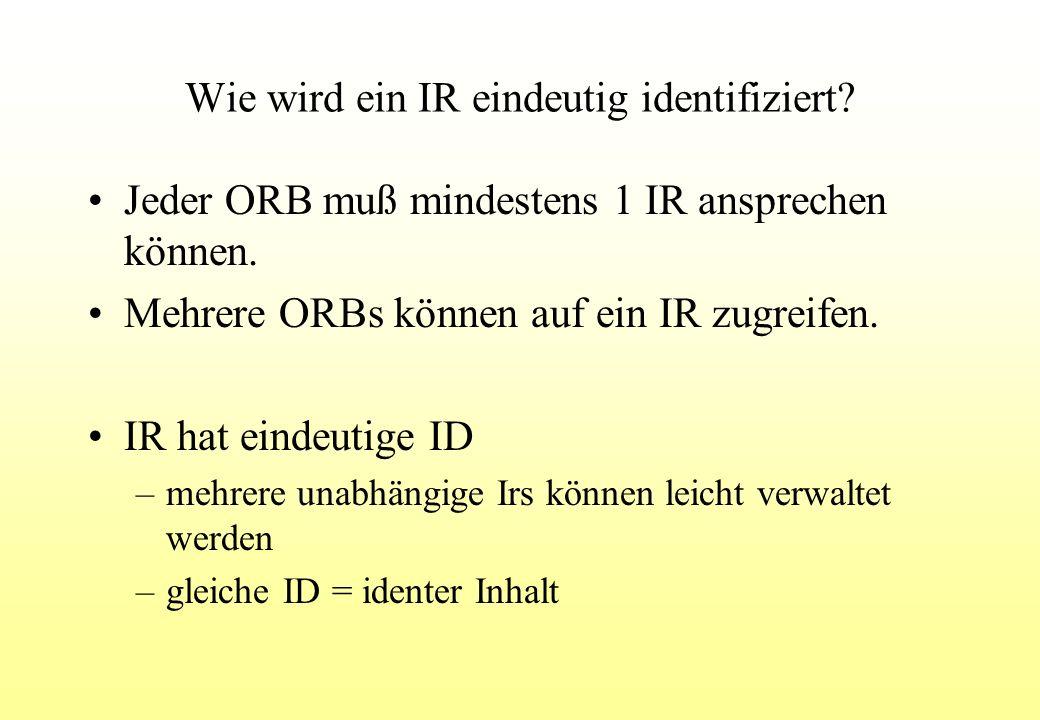 Wie wird ein IR eindeutig identifiziert. Jeder ORB muß mindestens 1 IR ansprechen können.