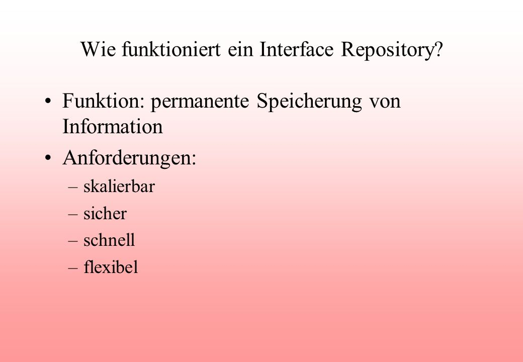 Wie funktioniert ein Interface Repository.