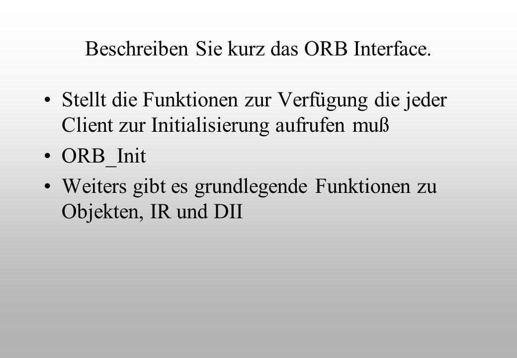 Beschreiben Sie kurz das ORB Interface.