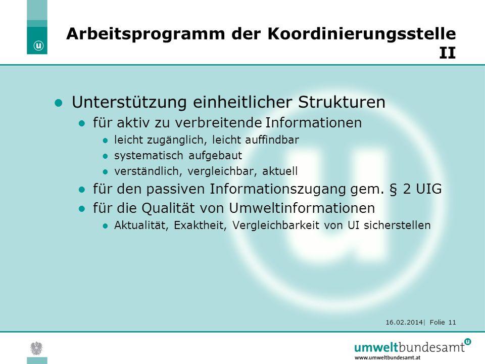 16.02.2014| Folie 11 Arbeitsprogramm der Koordinierungsstelle II Unterstützung einheitlicher Strukturen für aktiv zu verbreitende Informationen leicht