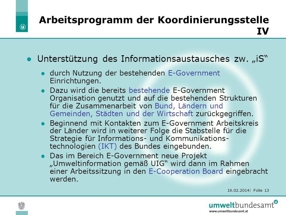 16.02.2014| Folie 13 Arbeitsprogramm der Koordinierungsstelle IV Unterstützung des Informationsaustausches zw. iS durch Nutzung der bestehenden E-Gove