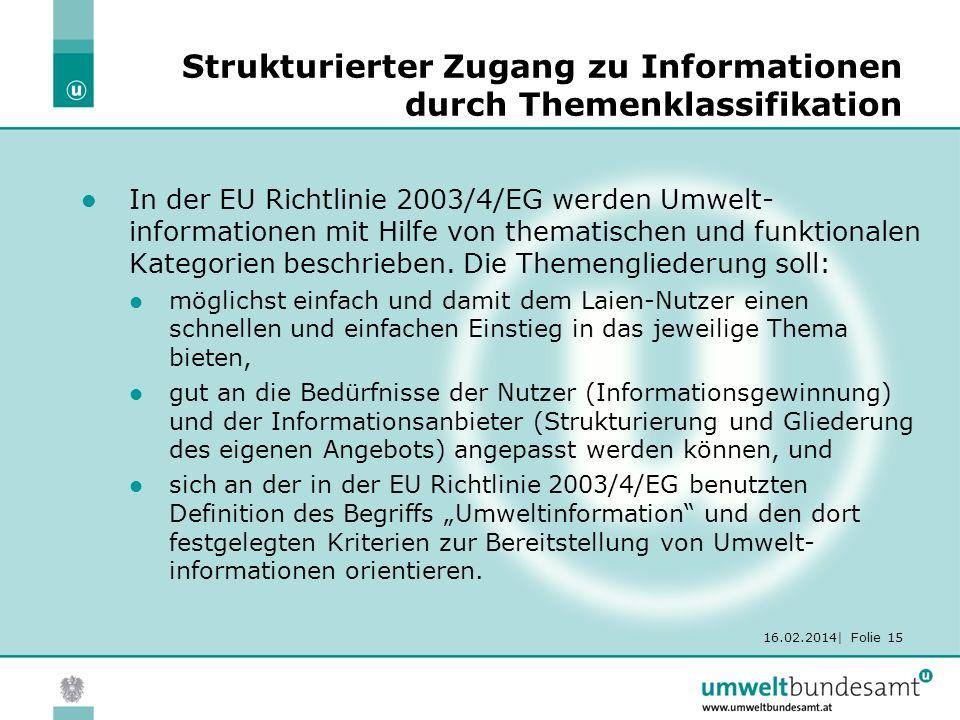 16.02.2014| Folie 15 Strukturierter Zugang zu Informationen durch Themenklassifikation In der EU Richtlinie 2003/4/EG werden Umwelt- informationen mit Hilfe von thematischen und funktionalen Kategorien beschrieben.