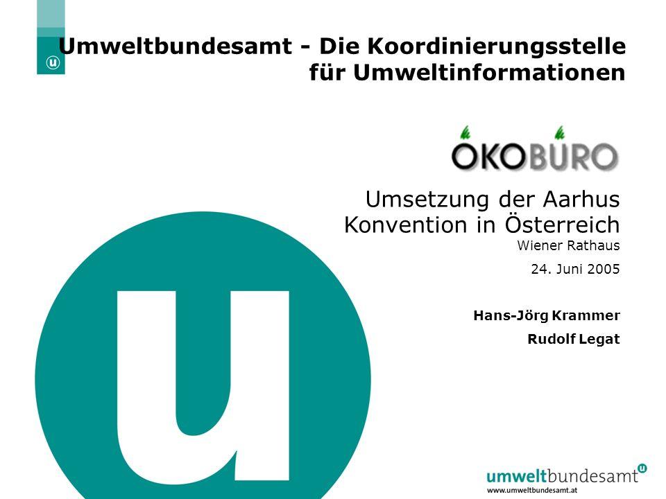 16.02.2014| Folie 2 Umweltbundesamt - Die Koordinierungsstelle für Umweltinformationen Umsetzung der Aarhus Konvention in Österreich Wiener Rathaus 24