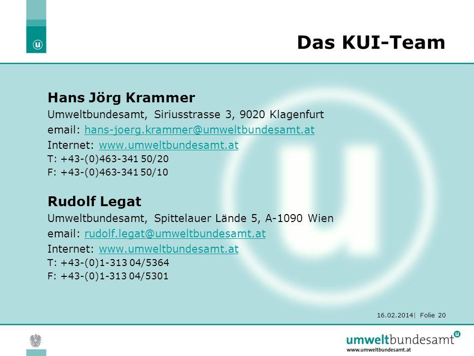 16.02.2014| Folie 20 Das KUI-Team Hans Jörg Krammer Umweltbundesamt, Siriusstrasse 3, 9020 Klagenfurt email: hans-joerg.krammer@umweltbundesamt.athans-joerg.krammer@umweltbundesamt.at Internet: www.umweltbundesamt.atwww.umweltbundesamt.at T: +43-(0)463-341 50/20 F: +43-(0)463-341 50/10 Rudolf Legat Umweltbundesamt, Spittelauer Lände 5, A-1090 Wien email: rudolf.legat@umweltbundesamt.atrudolf.legat@umweltbundesamt.at Internet: www.umweltbundesamt.atwww.umweltbundesamt.at T: +43-(0)1-313 04/5364 F: +43-(0)1-313 04/5301