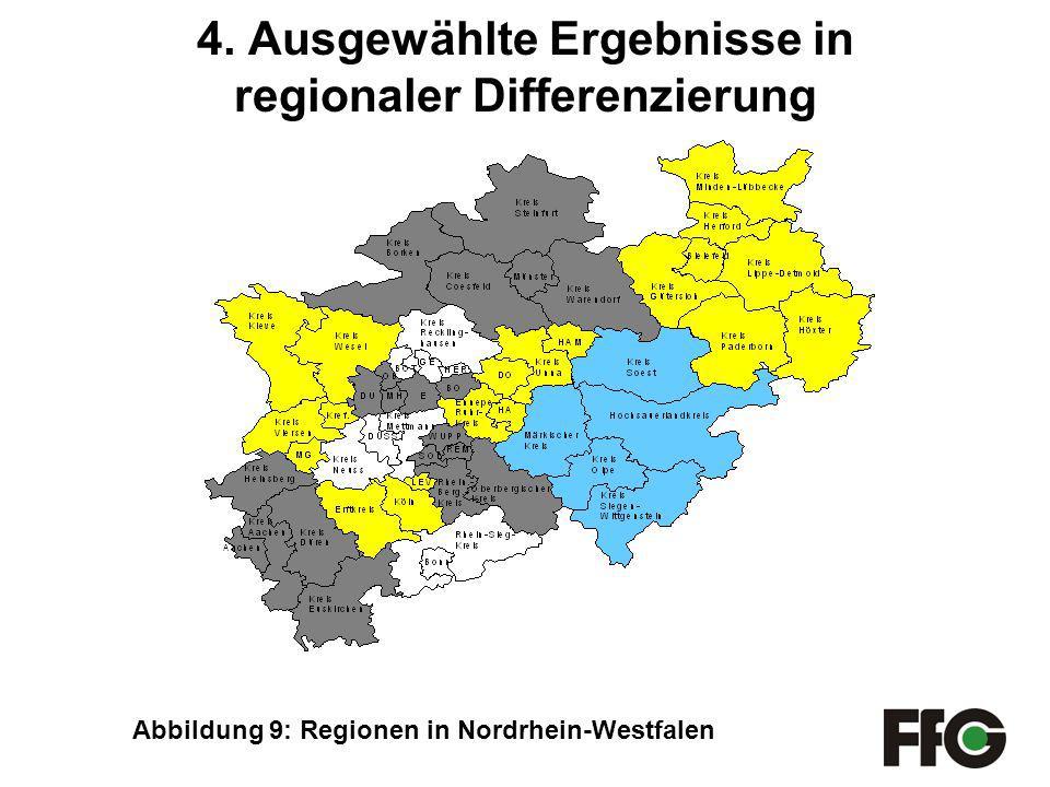 4. Ausgewählte Ergebnisse in regionaler Differenzierung Abbildung 9: Regionen in Nordrhein-Westfalen