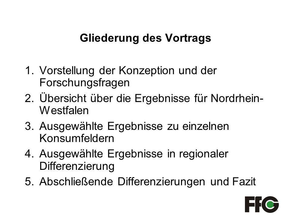 Gliederung des Vortrags 1.Vorstellung der Konzeption und der Forschungsfragen 2.Übersicht über die Ergebnisse für Nordrhein- Westfalen 3.Ausgewählte Ergebnisse zu einzelnen Konsumfeldern 4.Ausgewählte Ergebnisse in regionaler Differenzierung 5.Abschließende Differenzierungen und Fazit