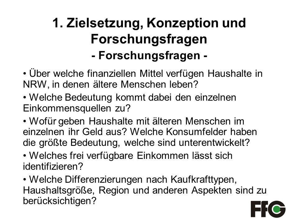 1. Zielsetzung, Konzeption und Forschungsfragen - Forschungsfragen - Über welche finanziellen Mittel verfügen Haushalte in NRW, in denen ältere Mensch