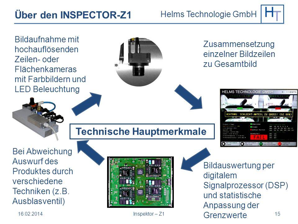 Helms Technologie GmbH 16.02.2014Inspektor – Z115 Über den INSPECTOR-Z1 Technische Hauptmerkmale Bildaufnahme mit hochauflösenden Zeilen- oder Flächen