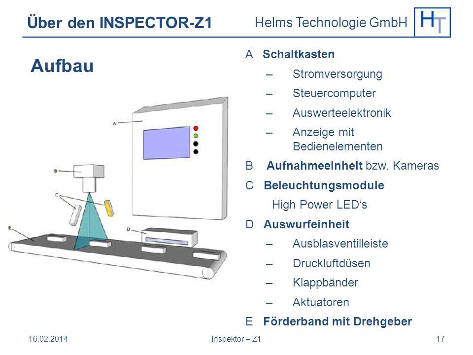Helms Technologie GmbH Über den INSPECTOR-Z1 A Schaltkasten – Stromversorgung – Steuercomputer – Auswerteelektronik – Anzeige mit Bedienelementen B Au