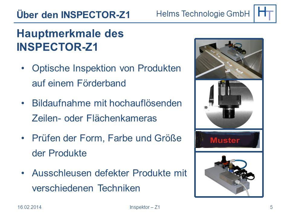 Helms Technologie GmbH Über den INSPECTOR-Z1 Optische Inspektion von Produkten auf einem Förderband Bildaufnahme mit hochauflösenden Zeilen- oder Fläc