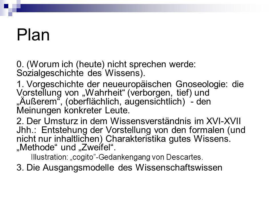 Plan 0. (Worum ich (heute) nicht sprechen werde: Sozialgeschichte des Wissens).
