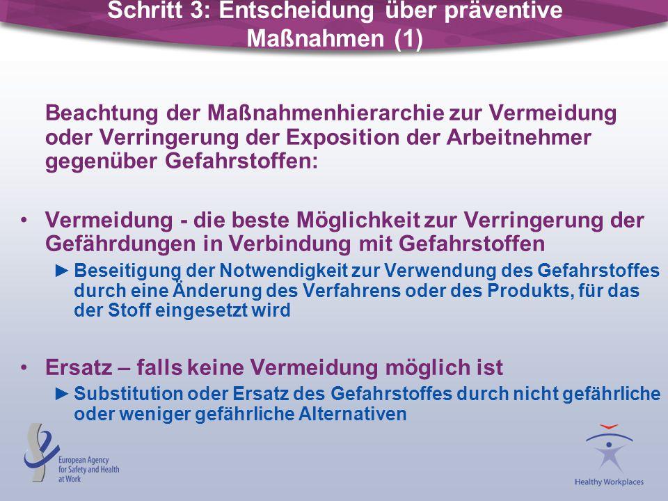 Beachtung der Maßnahmenhierarchie zur Vermeidung oder Verringerung der Exposition der Arbeitnehmer gegenüber Gefahrstoffen: Vermeidung - die beste Mög