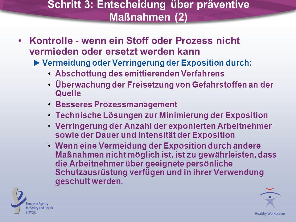 Kontrolle - wenn ein Stoff oder Prozess nicht vermieden oder ersetzt werden kann Vermeidung oder Verringerung der Exposition durch: Abschottung des em