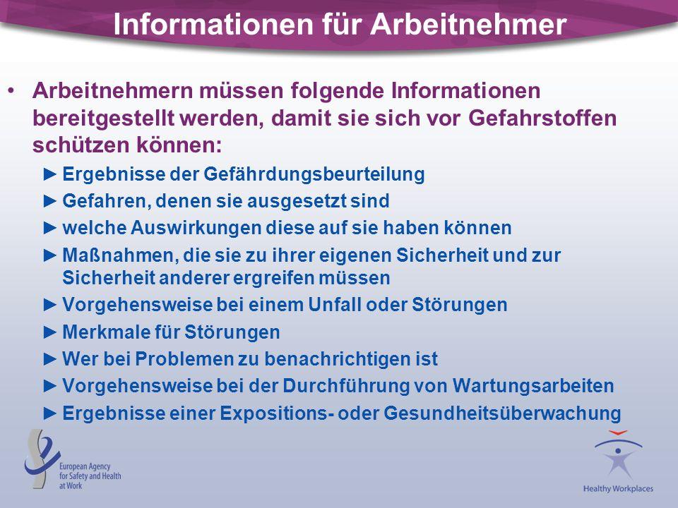 Informationen für Arbeitnehmer Arbeitnehmern müssen folgende Informationen bereitgestellt werden, damit sie sich vor Gefahrstoffen schützen können: Er