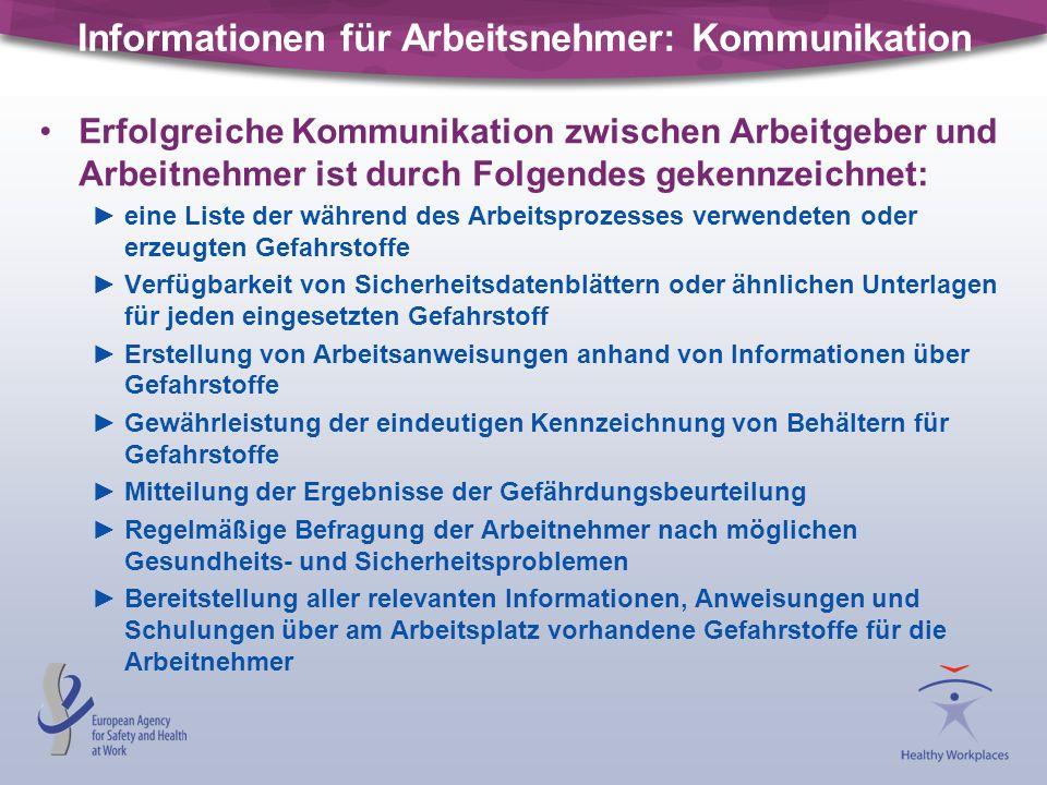 Informationen für Arbeitsnehmer: Kommunikation Erfolgreiche Kommunikation zwischen Arbeitgeber und Arbeitnehmer ist durch Folgendes gekennzeichnet: ei