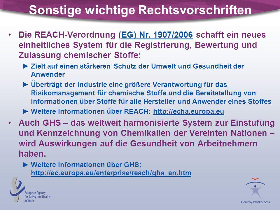 Sonstige wichtige Rechtsvorschriften Die REACH-Verordnung (EG) Nr. 1907/2006 schafft ein neues einheitliches System für die Registrierung, Bewertung u
