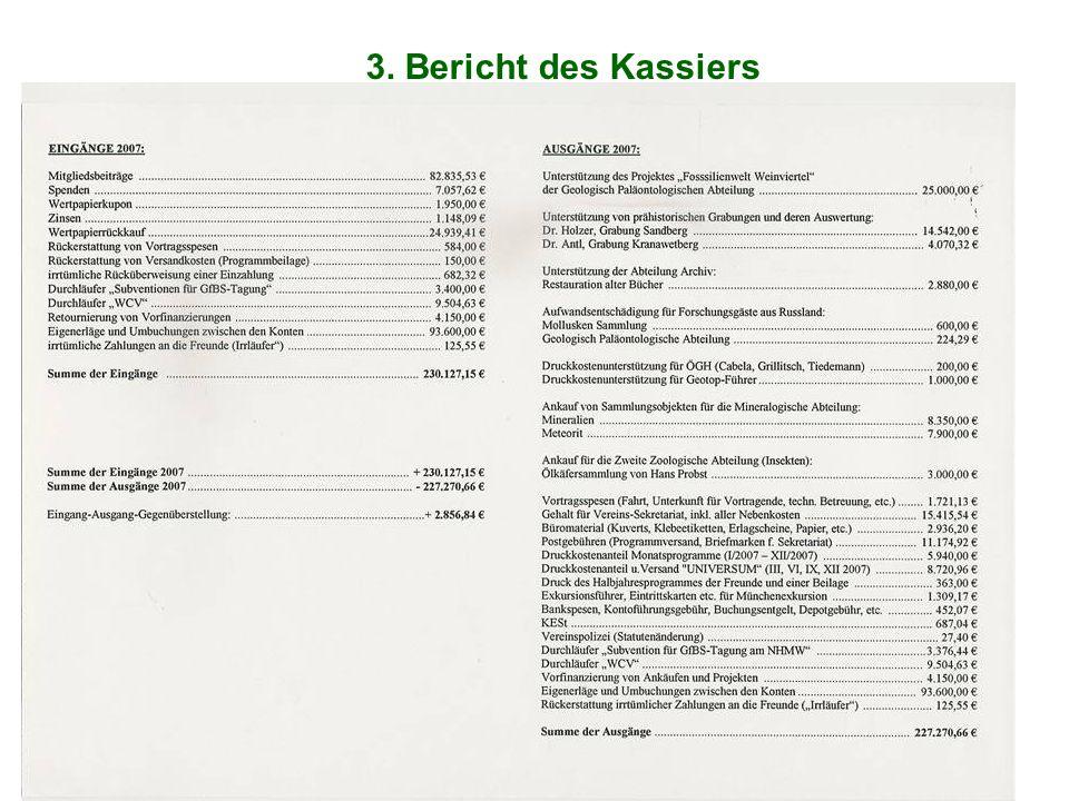 3. Bericht des Kassiers